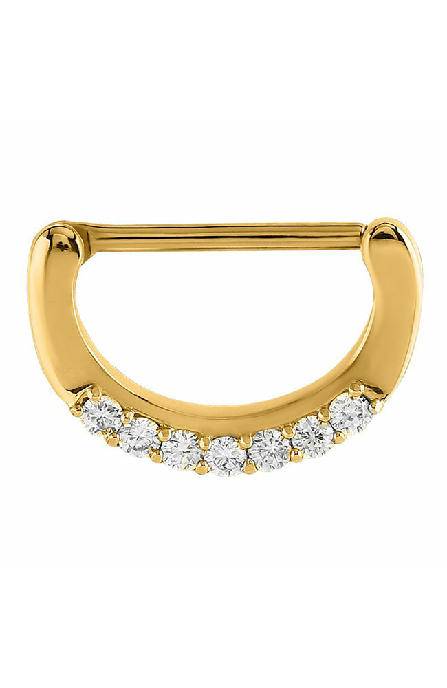 Bright Gold Prong Set Jewelled Nipple Clicker - 14 Gauge x 14mm