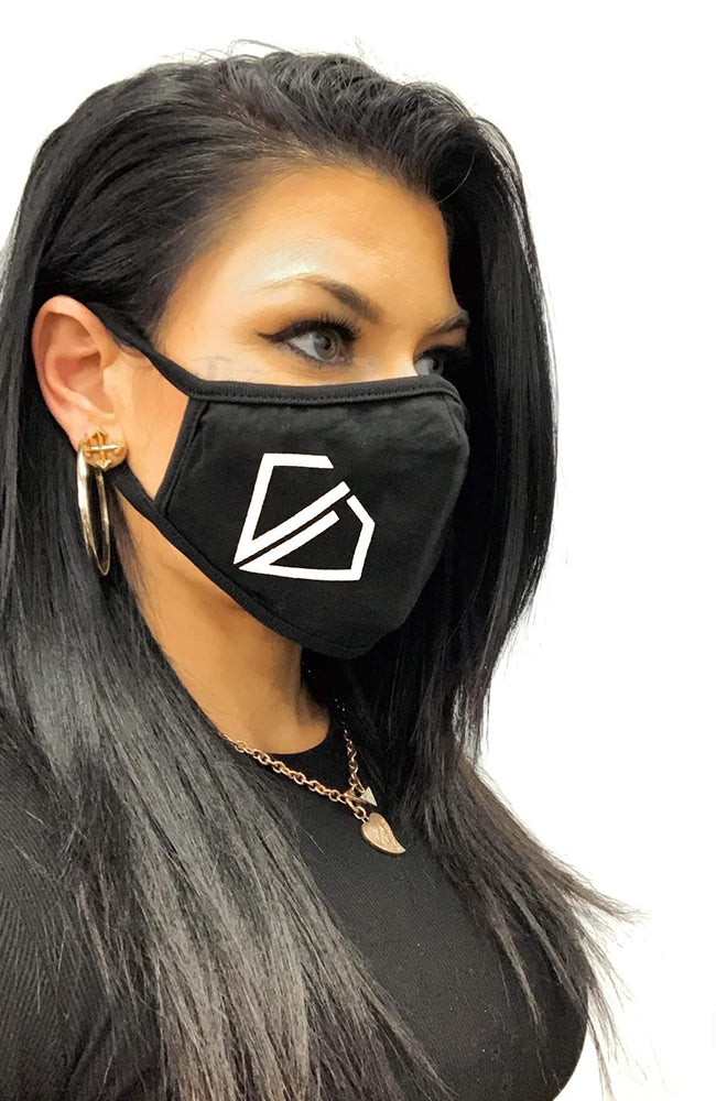 Uncut Diamond Face Mask - White Logo