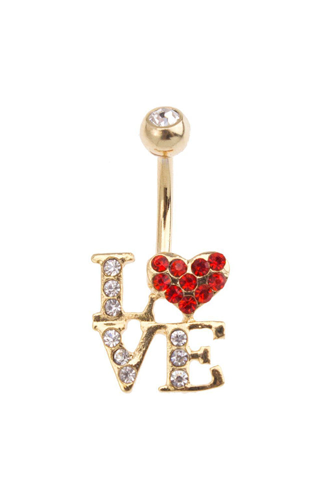 Gold Plated Jewelled Love Navel : 1.6mm (14ga) x 10mm