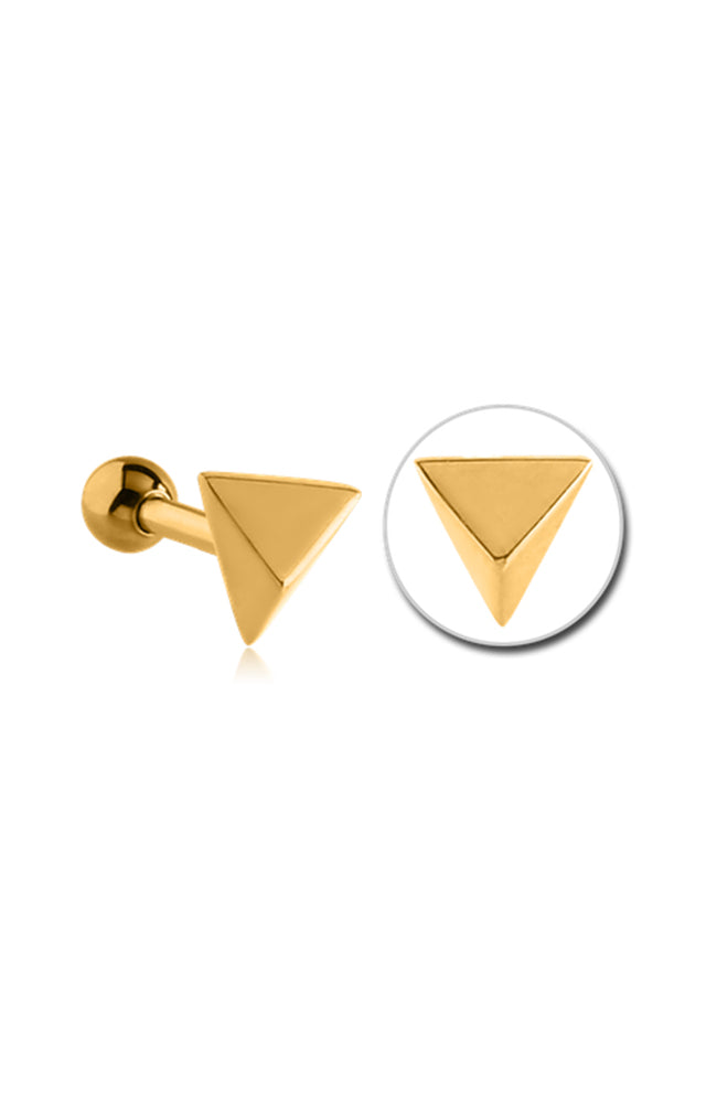 Bright Gold PVD Surgical Steel Pyramid Tragus Barbell
