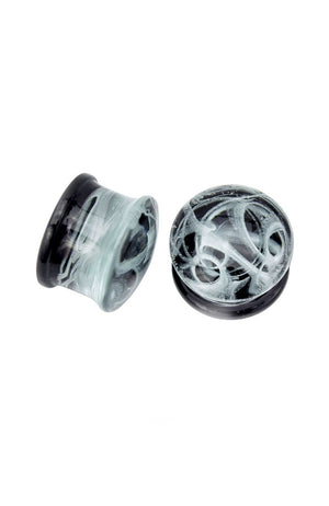Black Smokey Glass Plugs 10mm / 12mm / 14mm