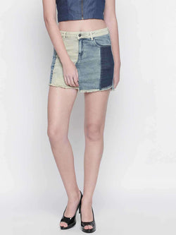 Denim Patched Skirt - FREAKINS