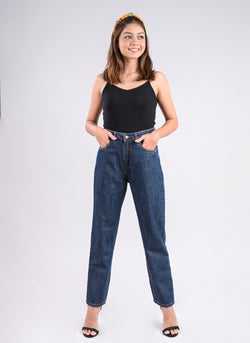 DARK BLUE HIGH WAIST MOM FIT JEANS