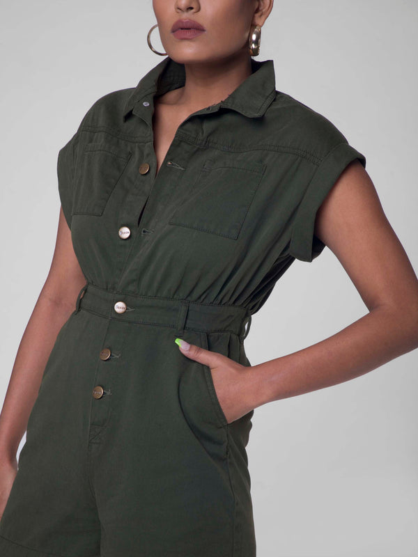 Romper in army green