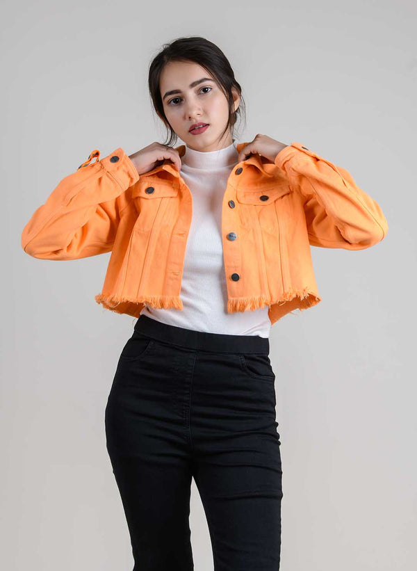 NEON-ORANGE DENIM CROPPED JACKET