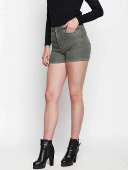 Olive Over Dyed Denim Hot Shorts