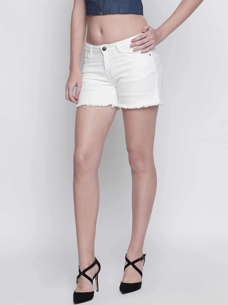 WHITE DENIM TAPE DETAILED HOT SHORT