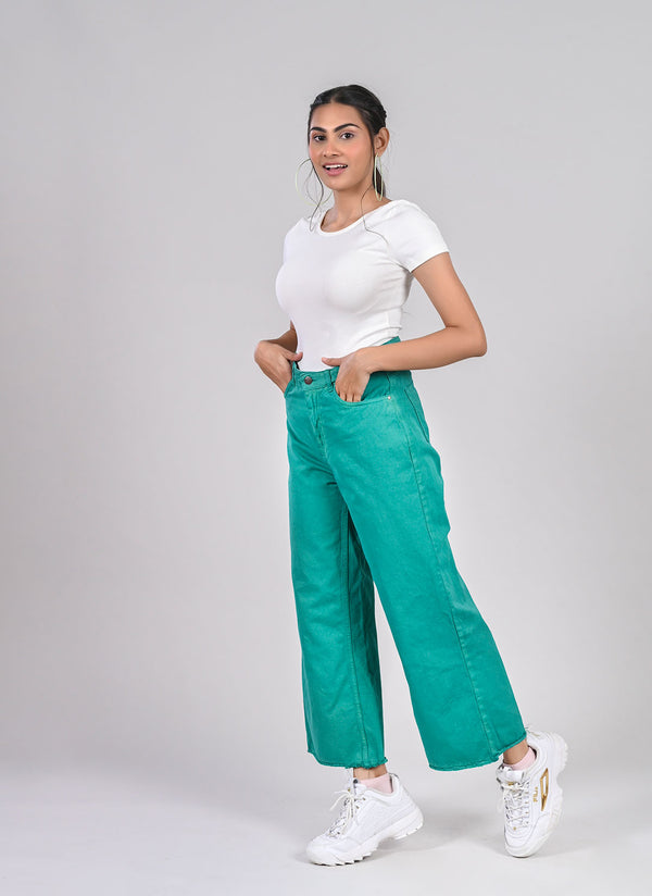 TEAL GREEN WIDE LEG JEANS