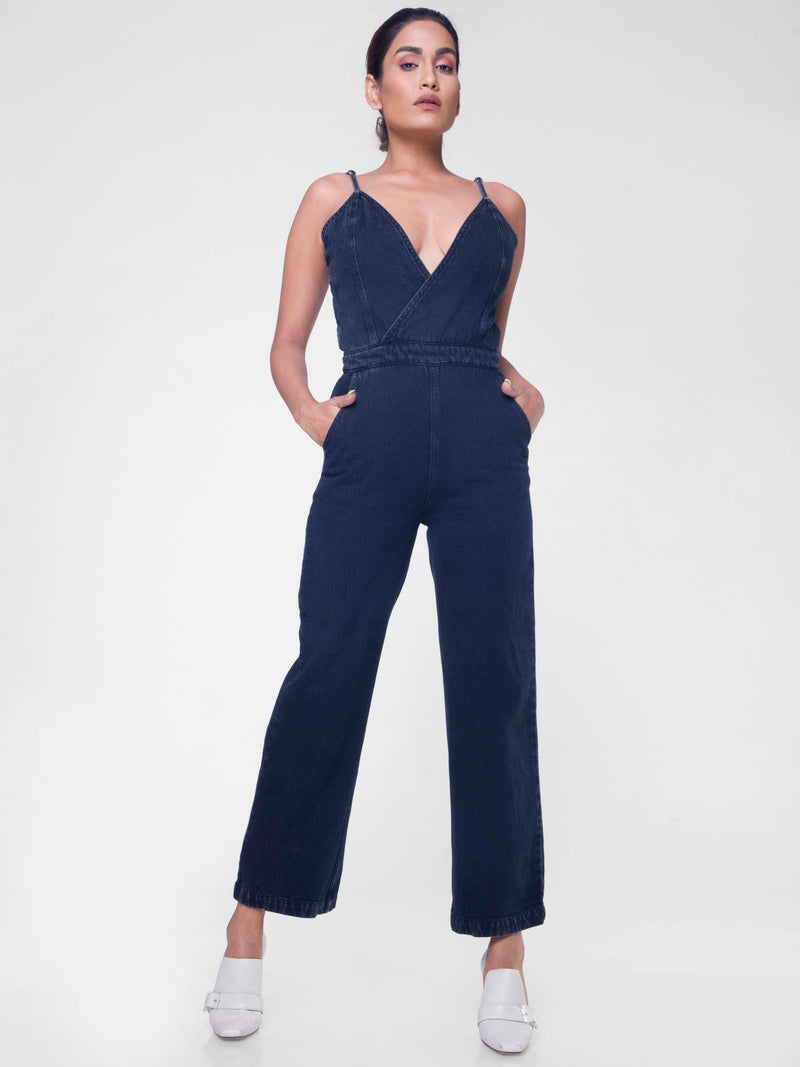 Overlap jumpsuit in black
