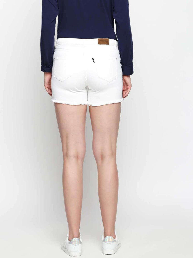 White Denim shorts with side tape detail