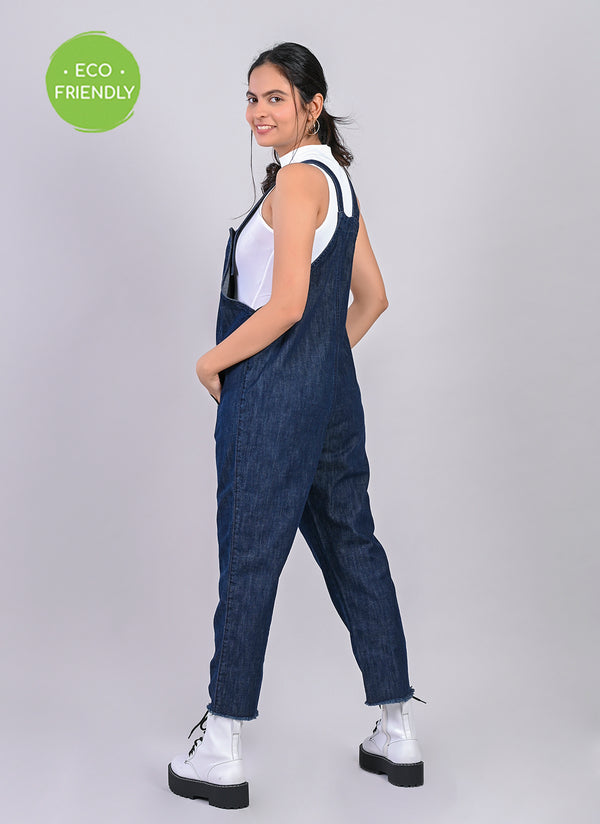 ECO FRIENDLY DENIM DUNGAREE IN MIDNIGHT BLUE