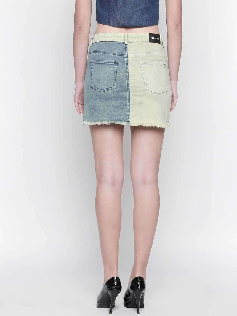 Denim Patched Skirt