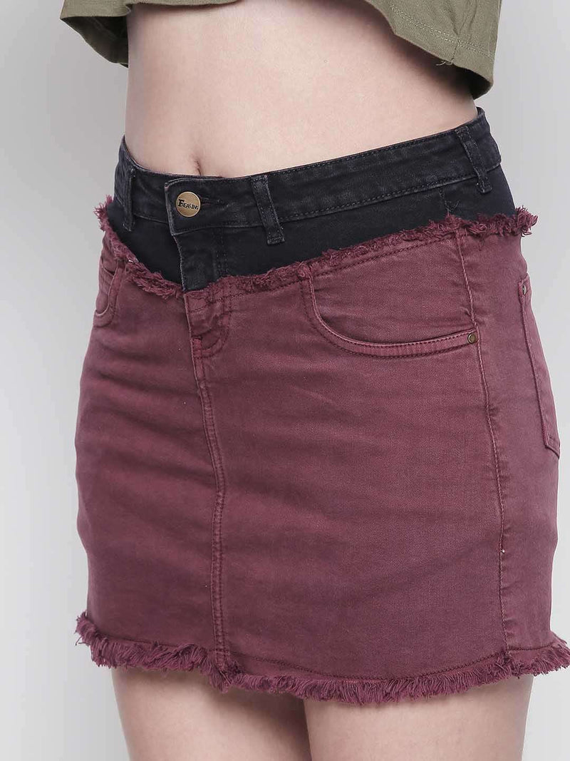 half'n'half denim wine skirt - FREAKINS