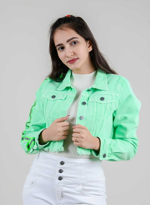 NEON DENIM CROPPED JACKET