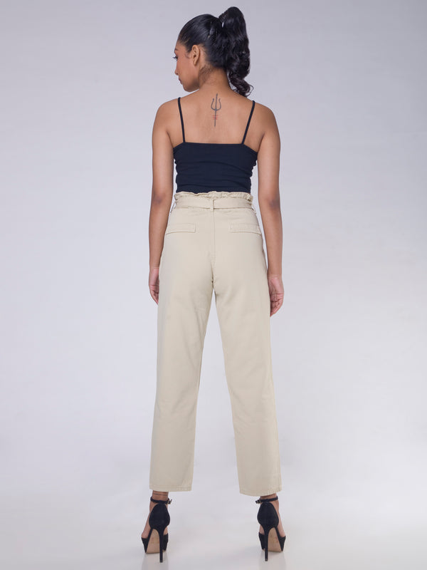 SAGE GREEN DARTED JEANS WITH TIE UP BELT