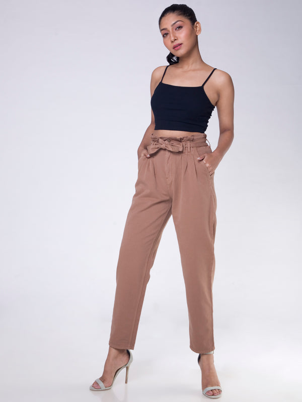COFFEE BROWN DARTED JEANS WITH TIE UP BELT