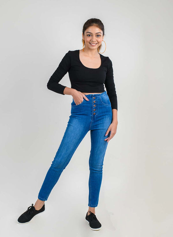 BUTTON FLY HIGH WAIST DENIM JEANS