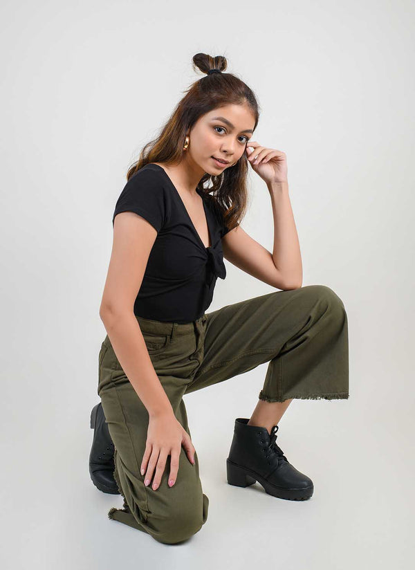 OLIVE WIDE LEG JEANS
