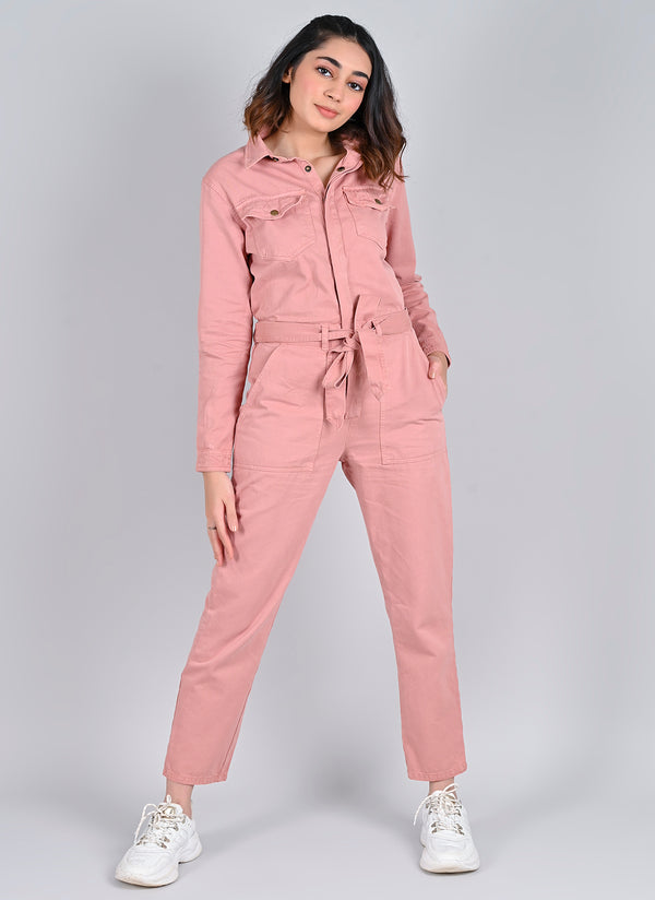 DUSTY PINK UTILITY JUMPSUIT