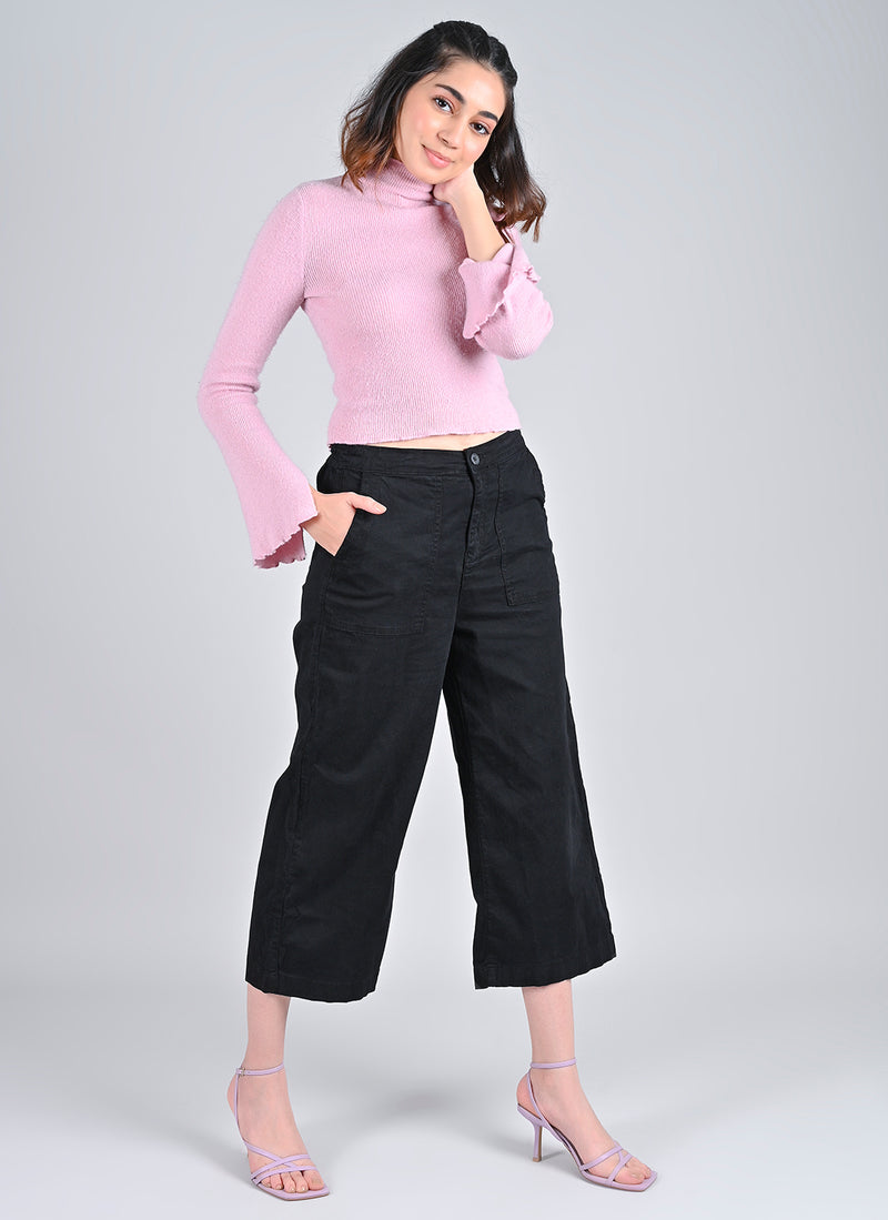 PARALLEL PANTS IN BLACK WITH CARPENTER POCKETS