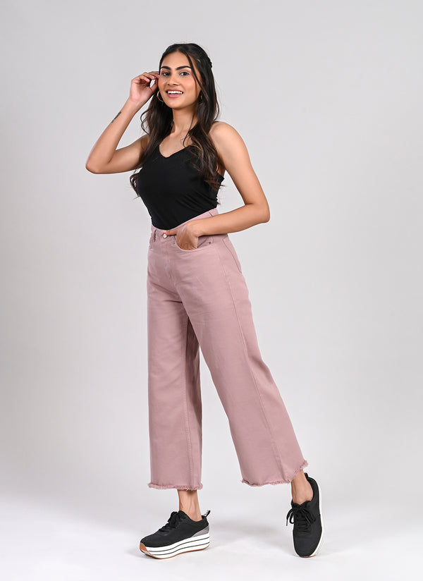 DUSTY PINK WIDE LEG JEANS