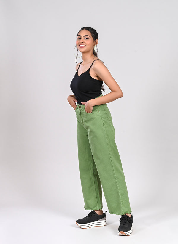 LEAF GREEN WIDE LEG JEANS