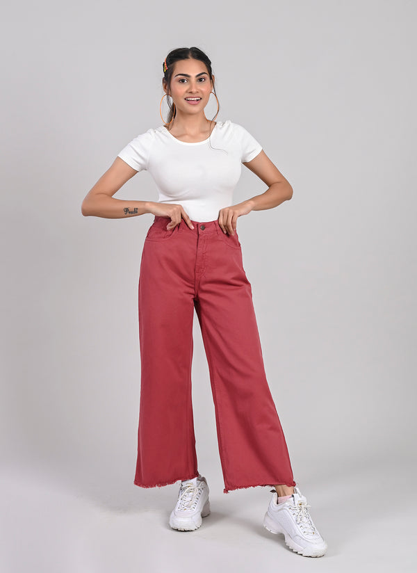 BRICK RED WIDE LEG JEANS