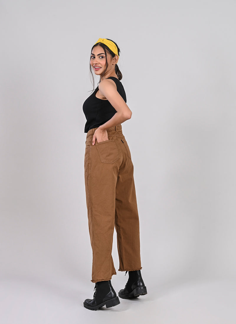FOREST BROWN WIDE LEG JEANS