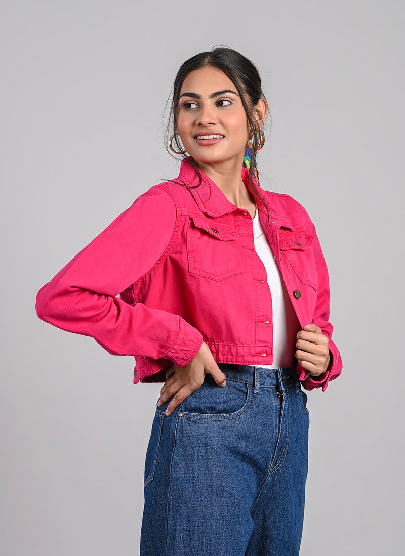 HOT PINK CROPPED JACKET