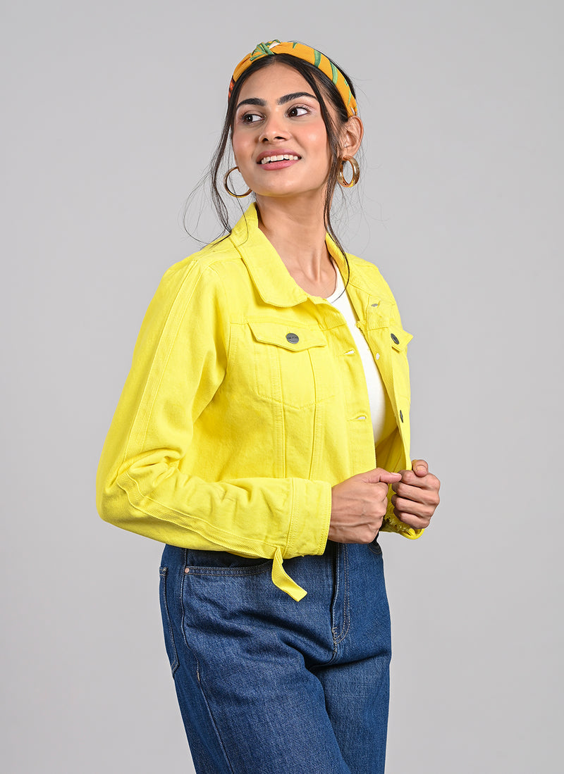 SIDE TAPE NEON YELLOW CROPPED JACKET
