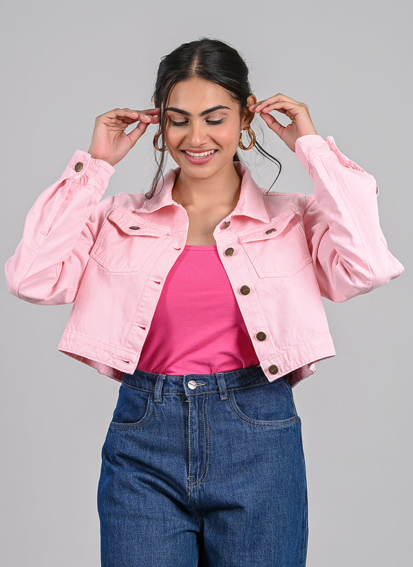 BABY PINK CROPPED JACKET