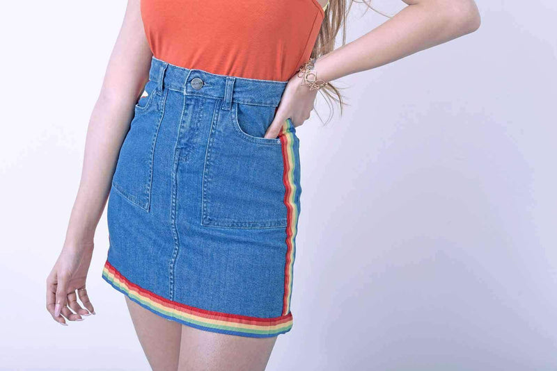 STM rainbow tape detailed denim skirt