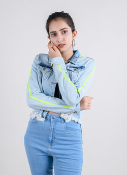 CROPPED DENIM JACKET WITH NEON SIDE TAPE