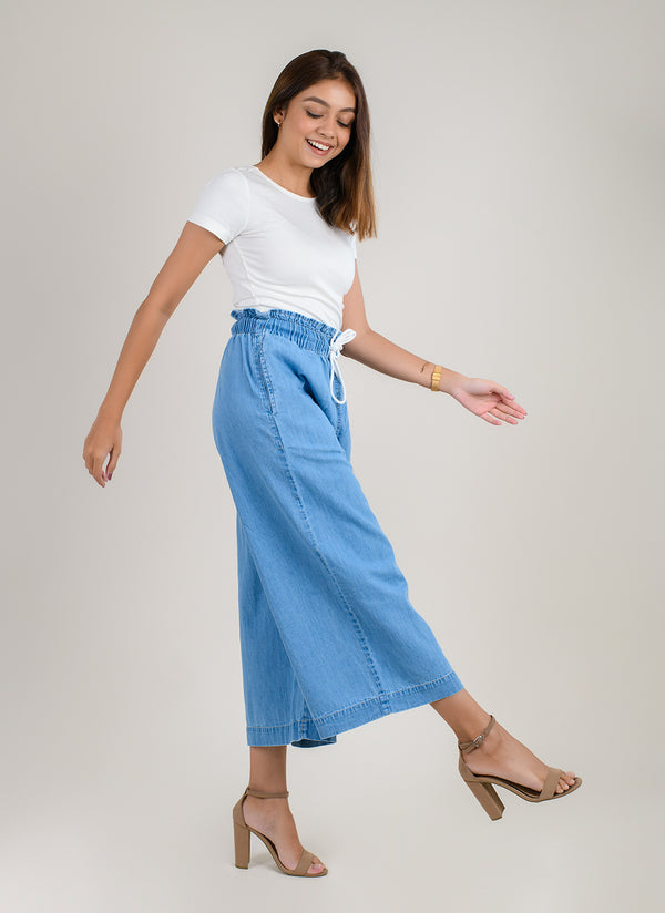 LIGHT BLUE PAPERBAG CULOTTES