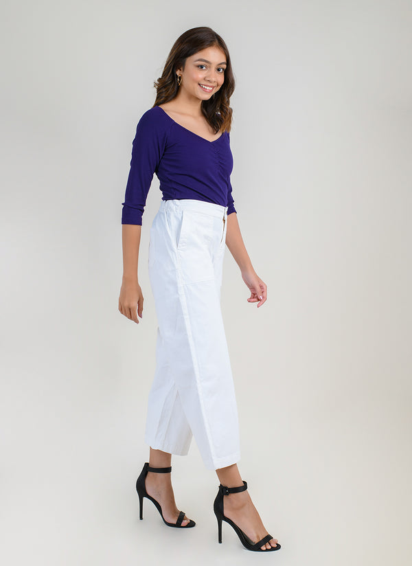 PARALLEL PANTS IN WHITE WITH CARPENTER POCKETS