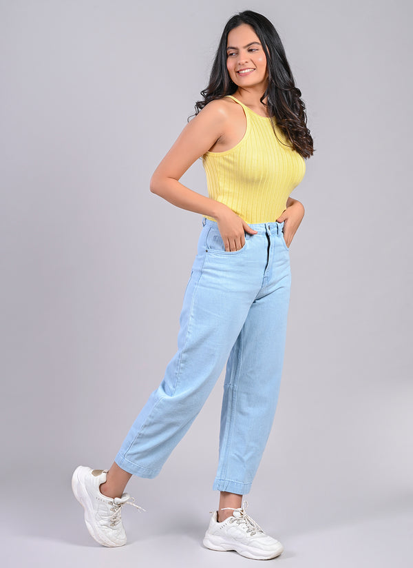 HI RISE STRAIGHT JEANS IN AIRY BLUE
