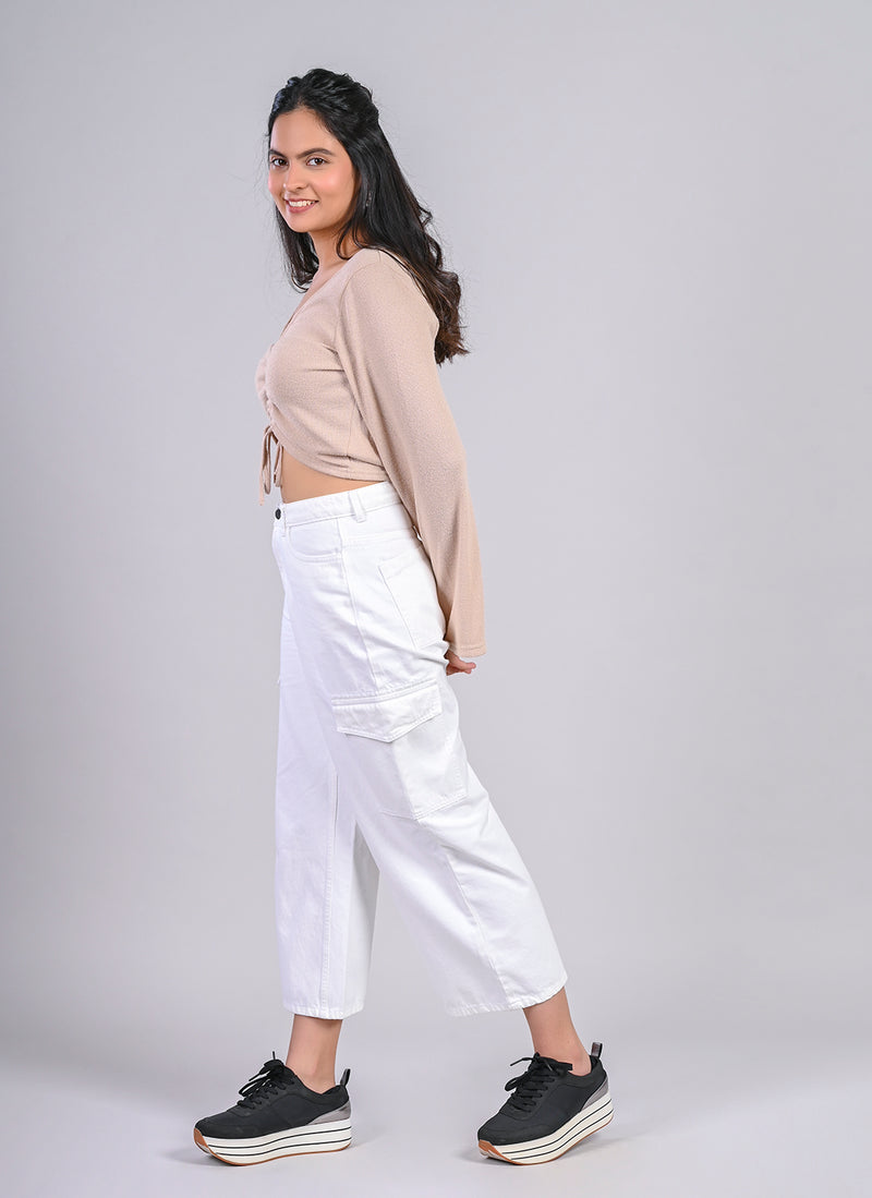ELASTICATED CARGO UTILITY PANTS IN WHITE