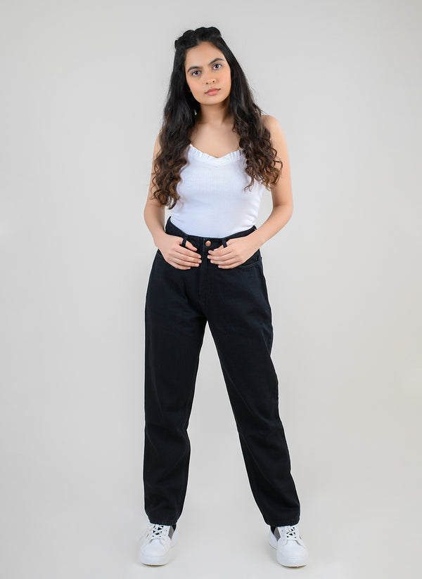 BLACK HIGH WAIST MOM FIT JEANS