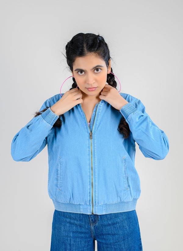 DENIM BOMBER JACKET WITH INNER KNIT LINING