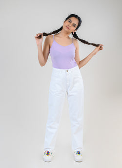 WHITE HIGH WAIST MOM FIT JEANS