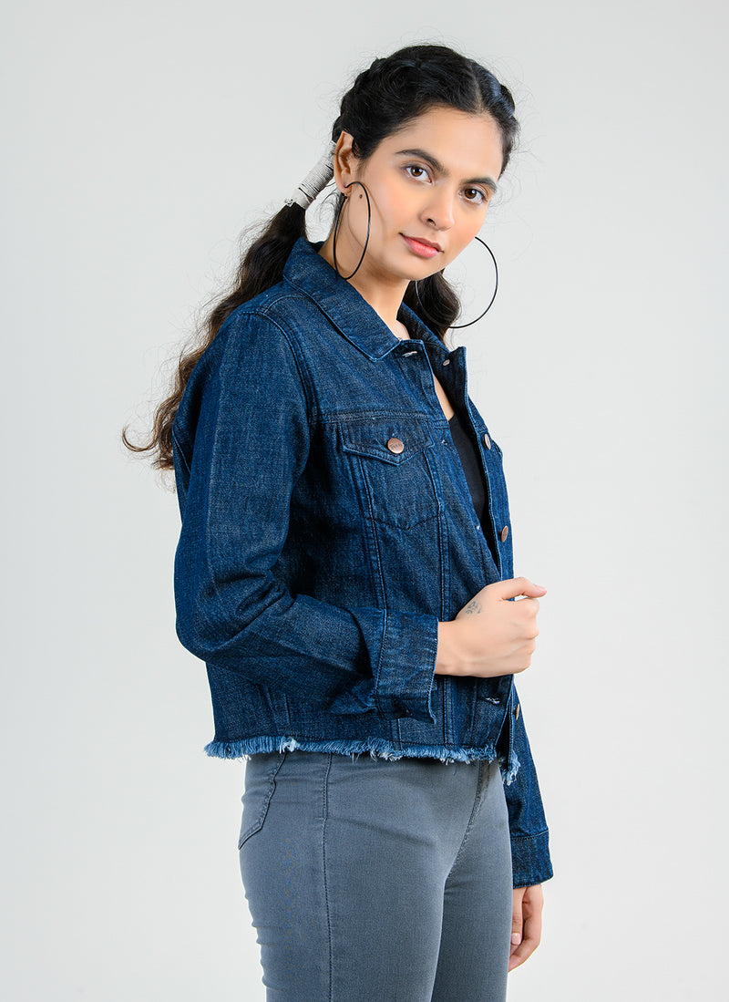 DARK BLUE DENIM JACKET WITH RAW HEM