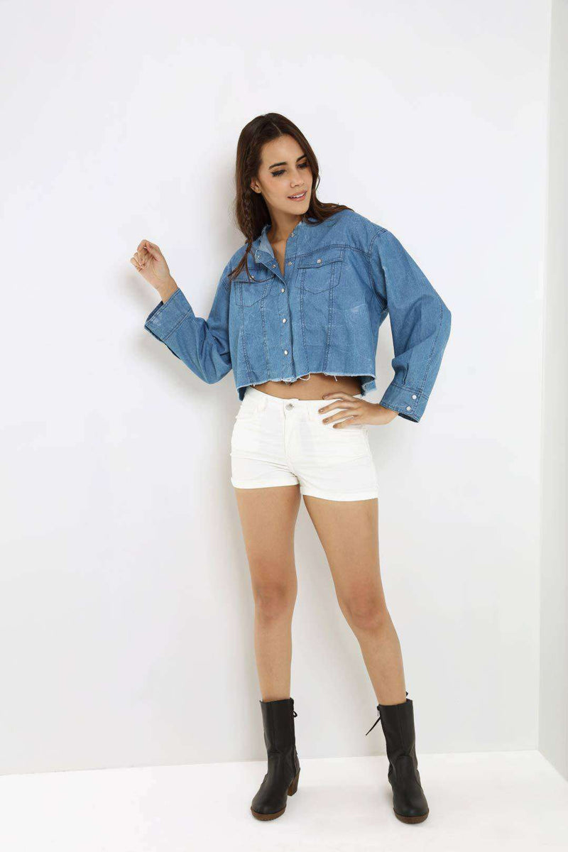 Over sized light blue denim crop shirt