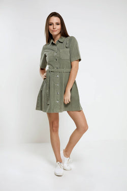 Olive Cotton Dress with adjustable belt