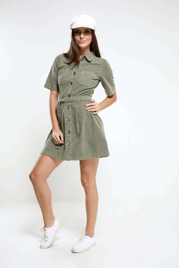 Olive cotton over dyed Dress with adjustable belt