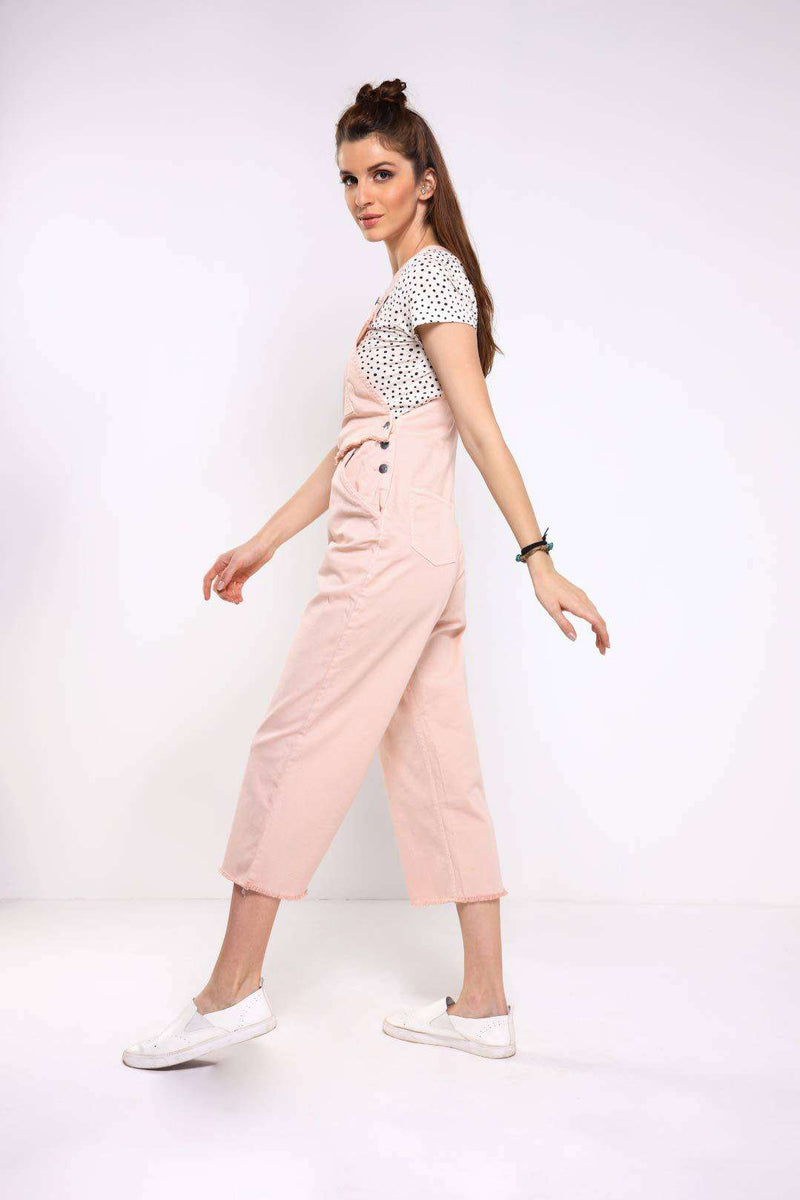 Pink relaxed fit boot-cut 3/4 length denim dungaree