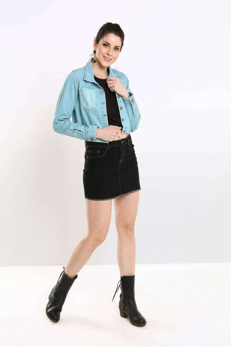 Aqua Blue contrast pockets denim crop jacket - FREAKINS