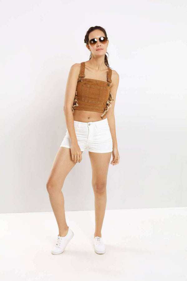Tan colored side tie-knot denim crop top dungaree