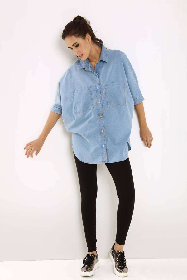 Kimono light blue denim with batwing sleeves shirt - FREAKINS