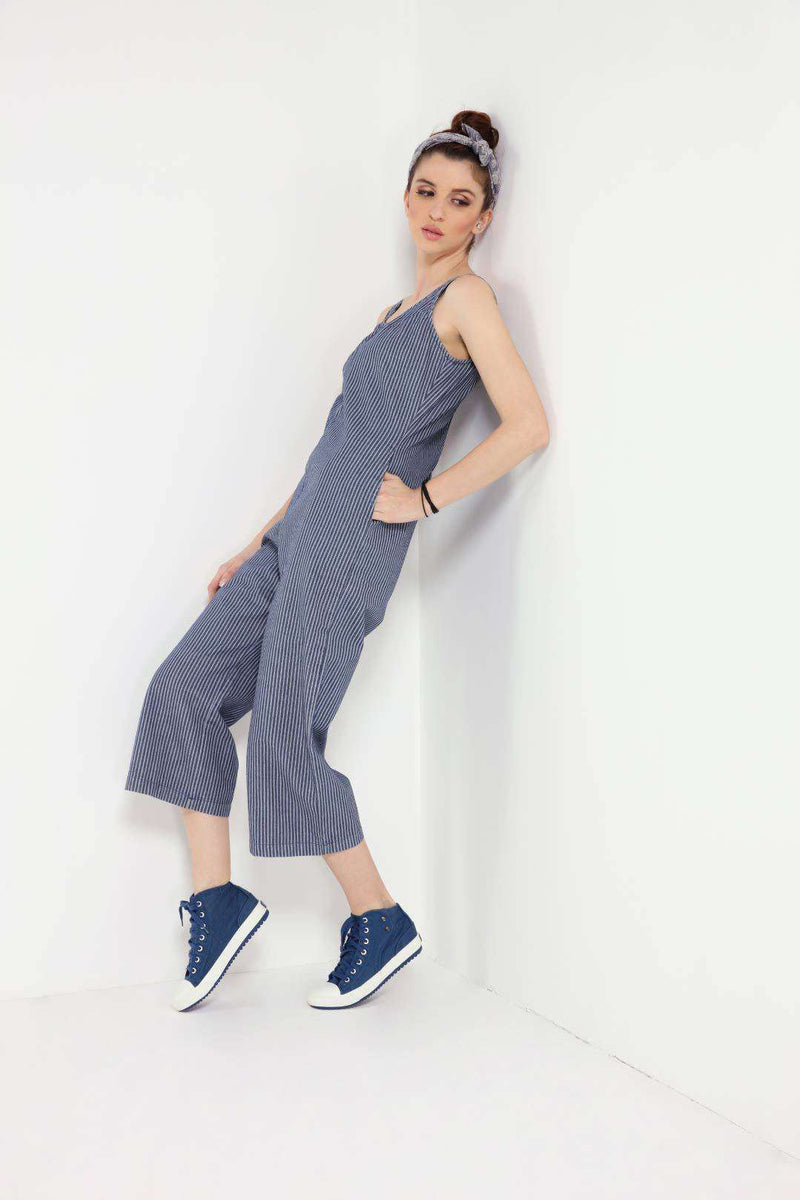 Striped boot cut 3/4 sleeveless denim jumpsuit