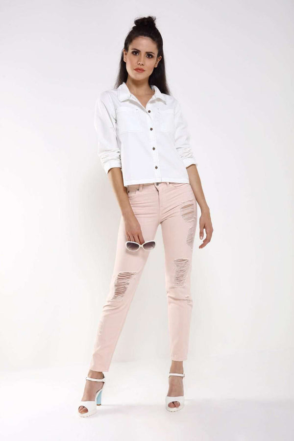 White Denim cropped shirt